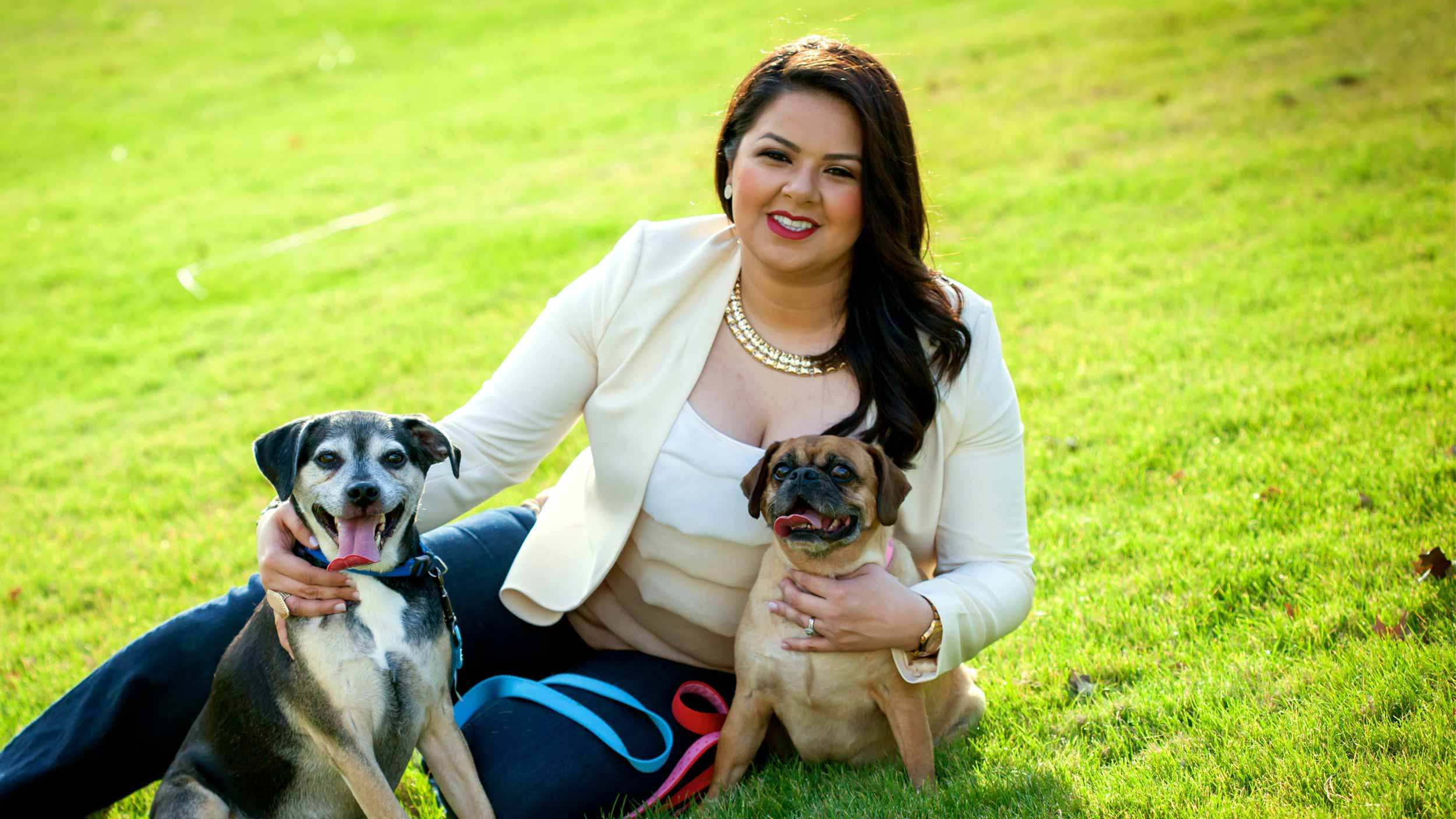 Carolina with her happy healthy dogs, Danger and Baby Girl
